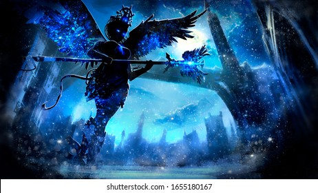 Ice angel sorceress with glowing eyes and a staff in her hands, on the background of the night winter landscape of a fantasy city with a long bridge and a tower, at midnight. 2D illustration.