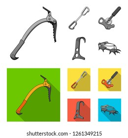 An ice ax, a carbine and other equipment.Mountaineering set collection icons in monochrome,flat style bitmap symbol stock illustration web.