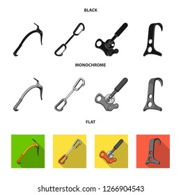 An ice ax, a carbine and other equipment.Mountaineering set collection icons in black, flat, monochrome style bitmap symbol stock illustration web.