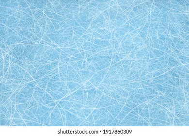 Ice blue background with ice skating tracks. Frozen water, sea. Frosty ice texture with winter graphic scratches. Hockey rink. Rendering image.