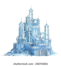 ice castle 3d illustration