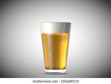 An ice cold shaker pint shaped beer glass filled with beer and a head of foam on an isolated white background - 3D renders