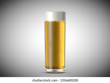 An ice cold stange shaped beer glass filled with beer and a head of foam on an isolated white background - 3D renders