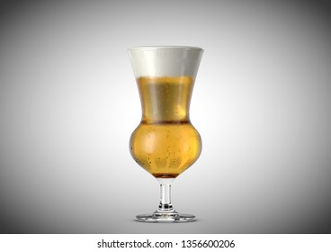 An ice cold thistle shaped beer glass filled with beer and a head of foam on an isolated white background - 3D renders
