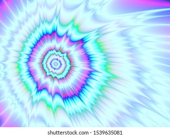 Ice Comet / An abstract fractal work with an exploding comet design in blue green and pink.