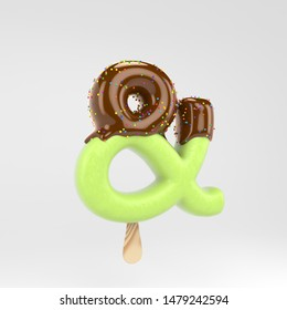 Ice cream ampersand symbol. Pistachio popsicle font with hot chocolate topping and sprinkles. 3d rendered alphabet type isolated on white background. For banner, poster design template.