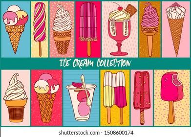 Ice cream collection, bright decorative cards design.