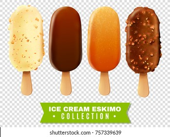 Ice cream collection of eskimo pie with white dark and milc varieties of chocolate glaze at transparent background realistic  illustration