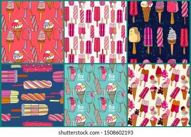 Ice cream collection, seamless pattern design.