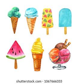 Ice cream collection. Watercolor illustration. Ice cream icons of frozen creamy desserts. Fruit Ice, Wafer cone, Scoops in glass bowl, Eskimo Ice Cream.