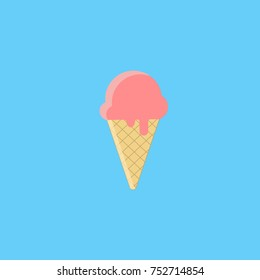 Ice cream. Colorful illustration for the logo, banner, web pages. isolated on blue background