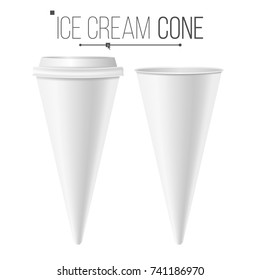 Ice Cream Cone Mock Up. Realistic Blank. Clean Packaging. For Dessert, Sour Cream. Isolated Illustration.