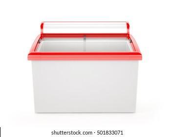 ice cream freezer isolated on white background. 3d rendering.
