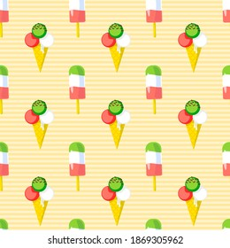 Ice cream icons seamless pattern in striped background. Beach, kids, summertime concept for wallpaper, wrapping, print. Illustration.