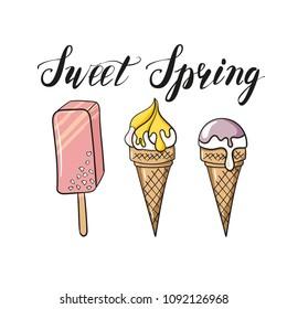 Ice cream illustration bright colors. Pink, yellow, purple, mauve, vanilla, lemon ice cream, ice cream cone, ice lolly and eskimo pie