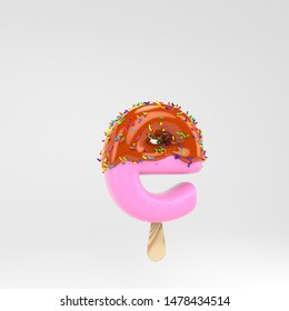 Ice cream letter E lowercase. Pink fruit popsicle font with caramel and sprinkles. 3d rendered alphabet type isolated on white background. For banner, poster design template.