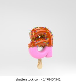 Ice cream letter A lowercase. Pink fruit popsicle font with caramel and sprinkles. 3d rendered alphabet type isolated on white background. For banner, poster design template.