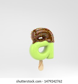 Ice cream letter A lowercase. Pistachio popsicle font with hot chocolate topping  and sprinkles. 3d rendered alphabet type isolated on white background. For banner, poster design template.