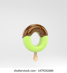 Ice cream letter O lowercase. Pistachio popsicle font with hot chocolate topping  and sprinkles. 3d rendered alphabet type isolated on white background. For banner, poster design template.