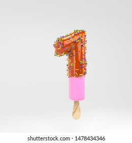 Ice cream number 1. Pink fruit popsicle font with caramel and sprinkles. 3d rendered alphabet type isolated on white background. For banner, poster design template.
