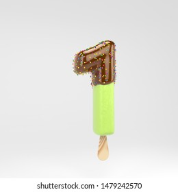 Ice cream number 1. Pistachio popsicle font with hot chocolate topping  and sprinkles. 3d rendered alphabet type isolated on white background. For banner, poster design template.