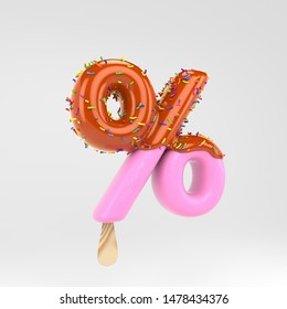 Ice cream percent symbol. Pink fruit popsicle font with caramel and sprinkles. 3d rendered alphabet type isolated on white background. For banner, poster design template.