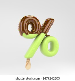 Ice cream percent symbol. Pistachio popsicle font with hot chocolate topping and sprinkles. 3d rendered alphabet type isolated on white background. For banner, poster design template.