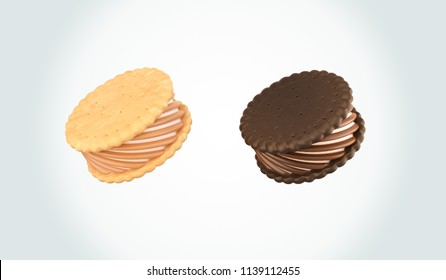 Ice Cream Sandwich Cookie, Design for Packaging with Clipping path 3d illustration.