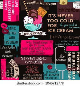 Ice cream seamless pattern, cafe, collage, sayings and quotes, seamless pattern, lettering