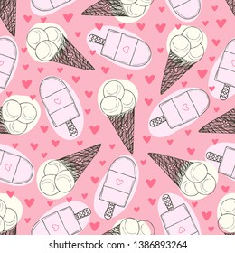 Ice Cream seamless pattern on pink background. Summer wrapping paper. Textile print with ice cream. Childish pattern design