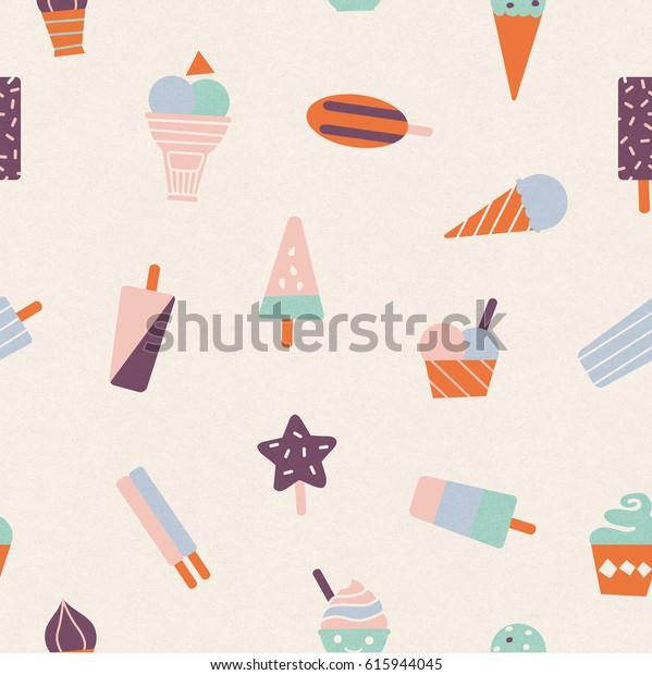 Ice cream summer pattern seamless