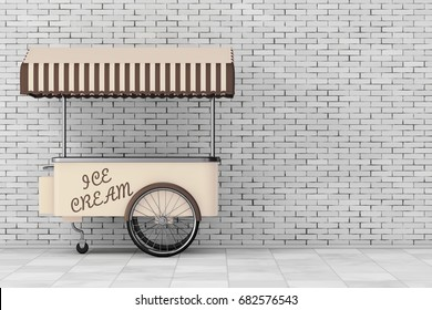 Ice Cream Trolley Cart in front of brick wall. 3d Rendering