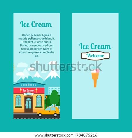 Ice Cream Vertical Flyers Shop Building Stock Illustration