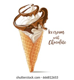 ice cream in waffle cone with chocolate spiral twisted around. watercolor illustration. Isolated objects on a white background