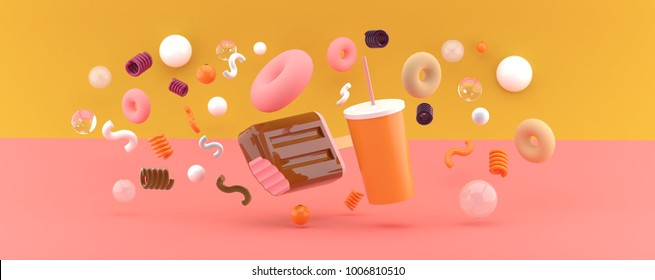 Ice cream and water among the donuts on an orange and pink background 3d render.