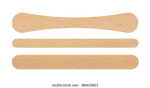 Ice cream wooden sticks. Isolated on white background