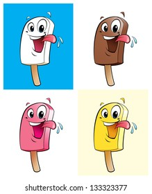 Ice creams in 4 colors / flavors