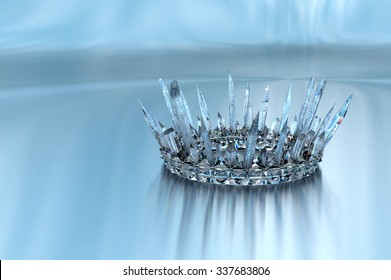 Ice Crown.  Inspired by icicles, this frozen, Ice Crown is perfect for your princess or queen.  3d render of an original design by the artist.