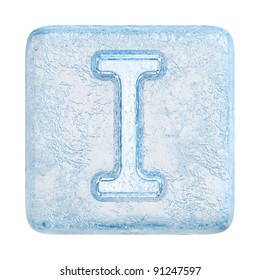 Ice cubes Font. Letter I