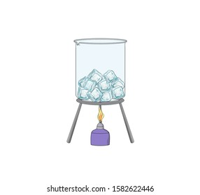 ice cubes in glass beaker. tr:( cam beher içinde buz küpleri)