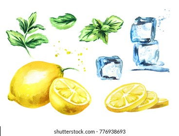 Ice cubes, lemon and mint leaves isolated on white background set. Watercolor hand drawn illustration