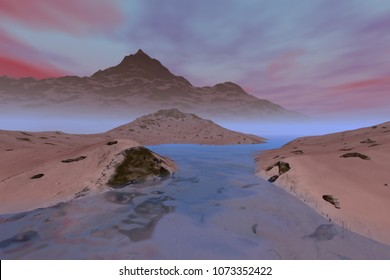 Ice everywhere, 3D rendering, a polar landscape, snowy mountains and colored clouds in the sky.