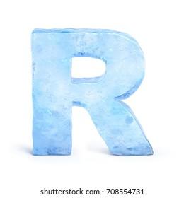 Ice font 3d rendering, letter R