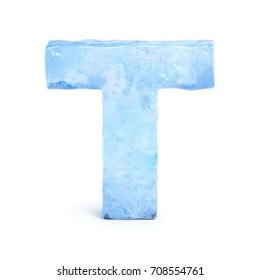 Ice font 3d rendering, letter T