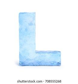 Ice font 3d rendering, letter L