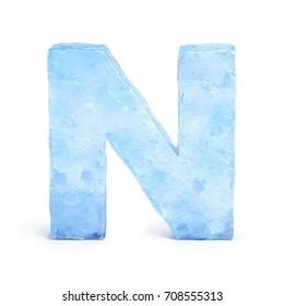 Ice font 3d rendering, letter N