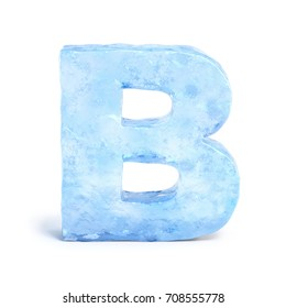 Ice font 3d rendering, letter B