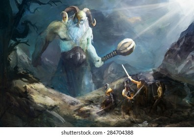 ice giant attacking Norse warriors