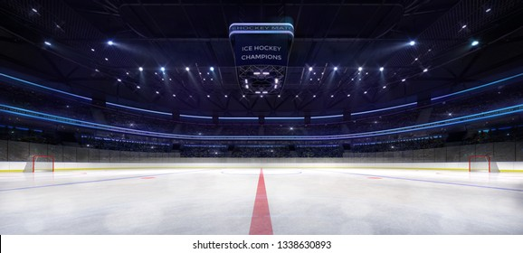 Ice hockey arena interior angle view illuminated by spotlights. Hockey and skating stadium indoor 3D render illustration background.