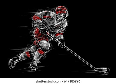Ice hockey player at rink. Sports illustration, poster on a black background